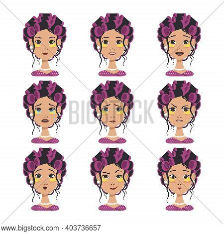 Set Of Avatars With Different Emotions. Girl With Pink Curlers And Yellow Patches. Fashion Avatar In