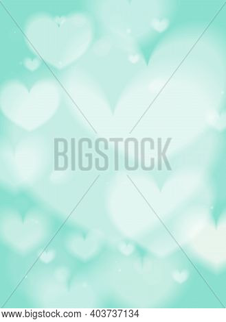 Romantic Gentle Blurred Background With Hearts, Vector Eps10
