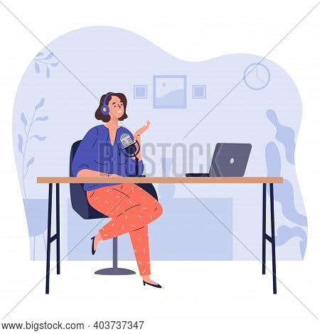 Radio Host.podcast Concept Illustration. Young Happy Woman Radio Hosts Character Podcaster Talking C