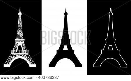 Eiffel Tower Set Isolated Icons Vector In Black And White
