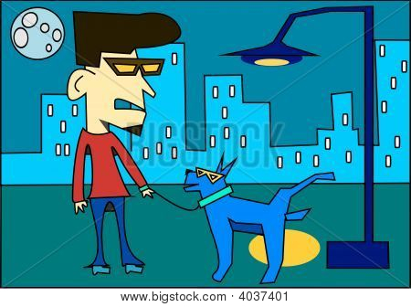 Man Walking Dog At Night Illustration