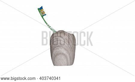 Toothbrush In A Case Isolated On A White Background. Green Toothbrush In A Case