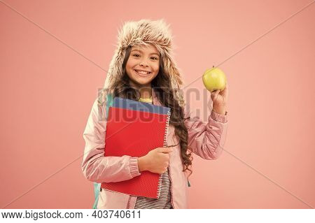 Modern Education. Christmas Break. Academic Year. Winter Semester. Teen With Backpack And Books. Sty