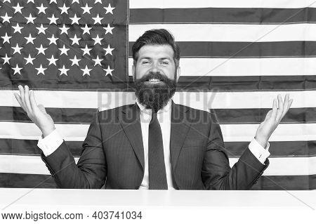Man American Presenter Anchorman In Studio, State Propaganda Concept.