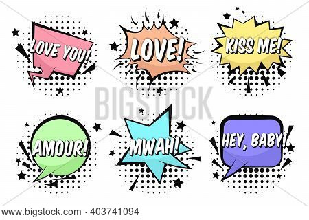 Bright St. Valentines Retro Comic Speech Bubbles Set With Love, Kiss Me, Mwah, Amour Words. Black Ou