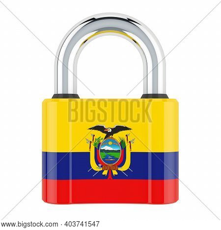 Padlock With Ecuadorian Flag, 3d Rendering Isolated On White Background