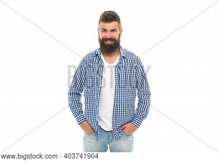Facial Care. Handsome Guy With Beard And Moustache Isolated On White. Male Express Emotions. Happine