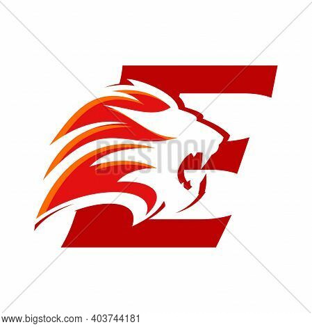 Bold And Strong Illustration Logo Design Initial E Combine With Lion Head, Make Your Company Look Br
