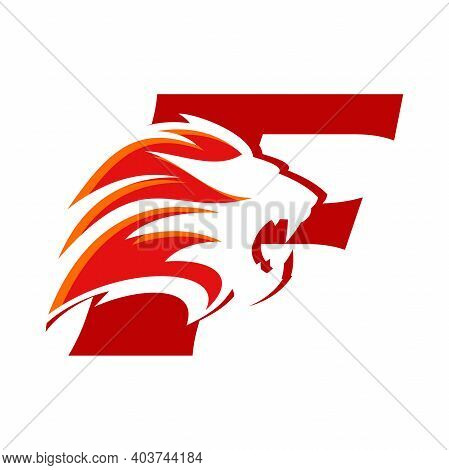 Bold And Strong Illustration Logo Design Initial F Combine With Lion Head, Make Your Company Look Br