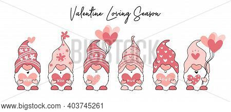 Cute Valentine Gnome In Pink With Heart Balloon And Letter, Cartoon Flat Vector Illustration