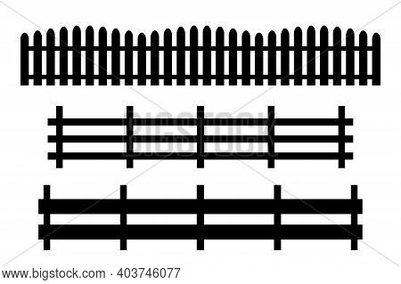 Black Fence On White Background. Seamless Pattern. Stable Fence. Decorative Fence Section. Stock Ima