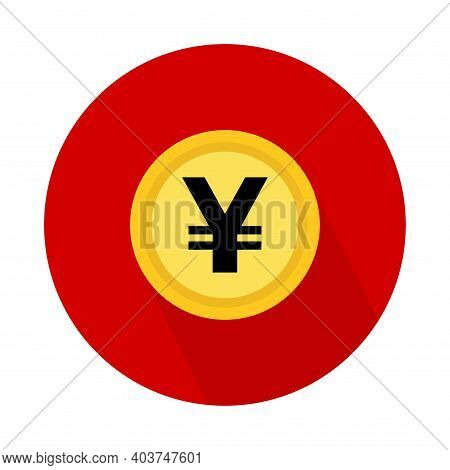 Yen Coin Icon, Money Bank Flat Design, Finance Symbol For Web, Logo, App Vector Illustration .