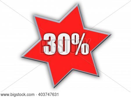 30 Percent Off 3d Sign On White Background, Special Offer 30% Discount Tag, Sale Up To 30 Percent Of