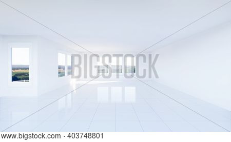 3d Rendering Of Empty Room And White Tile Floor Clean New And Shiny Reflection With Light And Space