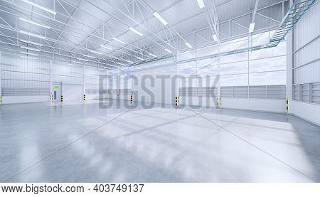 3d Rendering Of ้hangar Or Industrial Building. Protection With Security Door, Roller Door Or Roller