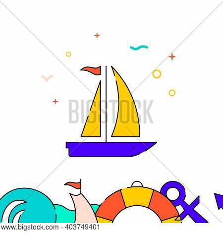 Sailing Yacht, Sailboat Filled Line Vector Icon, Simple Illustration, Water Safety And Watercraft Re