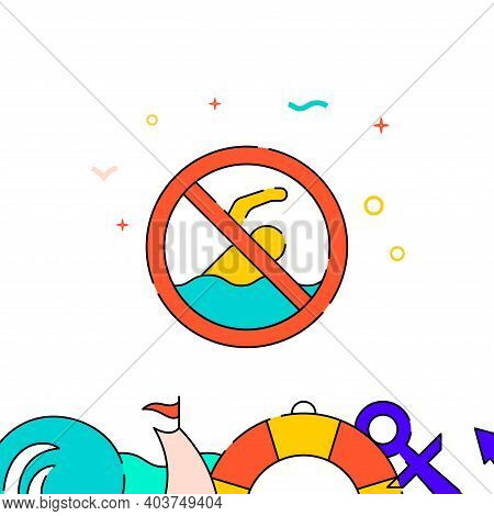 No Swimming Sign Filled Line Vector Icon, Simple Illustration, Water Safety And Watercraft Related B