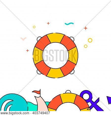 Lifebuoy, Lifeguard Filled Line Vector Icon, Simple Illustration, Water Safety And Watercraft Relate