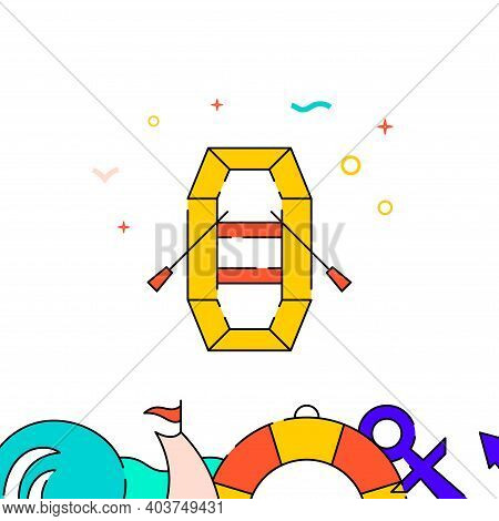 Inflatable Boat With Oars Filled Line Vector Icon, Simple Illustration, Water Safety And Watercraft