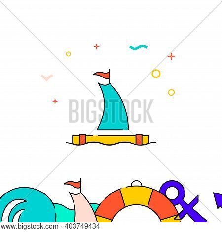 Sailing Raft Filled Line Vector Icon, Simple Illustration, Water Safety And Watercraft Related Botto