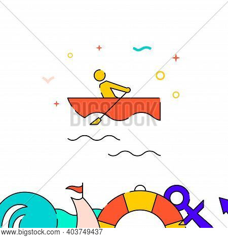 Rowing Boat Filled Line Vector Icon, Simple Illustration, Water Safety And Watercraft Related Bottom