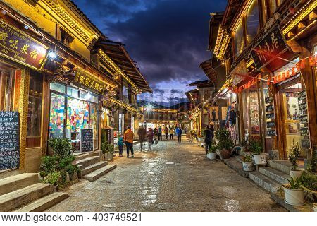 Lijiang, China - October 2019 : Scenic View Of The Dukezong Ancient Old Town At Twilight Time On Oct