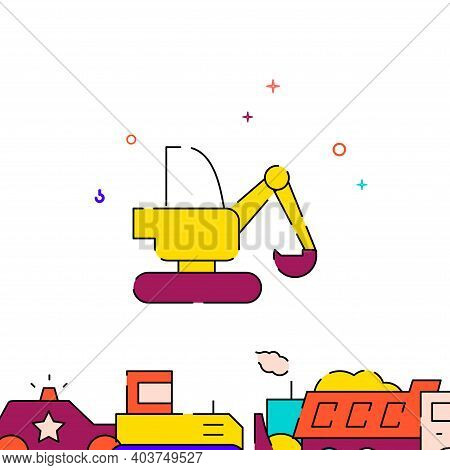 Excavator, Digger Filled Line Vector Icon, Simple Illustration, Special Transport Related Bottom Bor