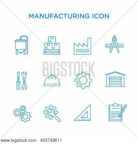 Icon Set Of Elements Of Processing Goods In Factories. Suitable For Design Elements From Factory Pro