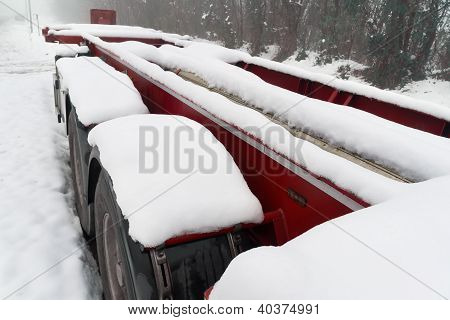 truck trailer on winter road