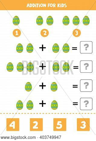 Addition Game With Cartoon Easter Egg. Math Game For Kids.