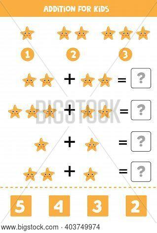 Addition Worksheet With Cartoon Sea Star. Math Game.