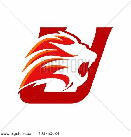 Bold And Strong Illustration Logo Design Initial U Combine With Lion Head, Make Your Company Look Br