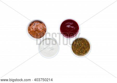 Different Types Of Sauces In Bowls. Restaurant Service Concept. Isolated.