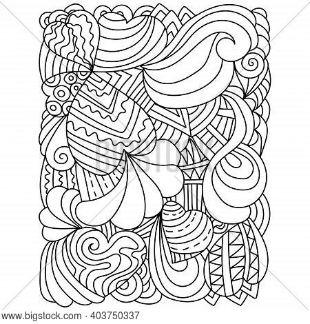 Illustration With Hearts And Ornate Patterns, Anti Stress Coloring Page For Valentine's Day Or Creat