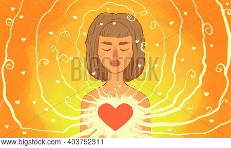Self-love. A Girl, Framed By Her Own Love, In A Positive Mood. Self-acceptance, Self-respect