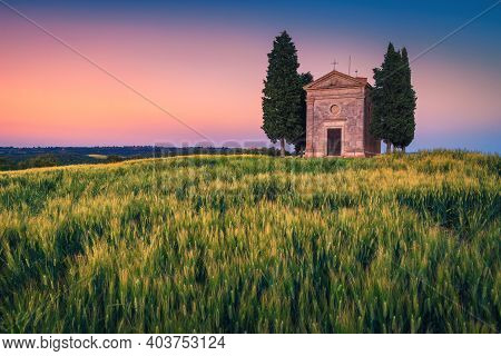 Great Photography And Touristic Place In Tuscany, Cute Small Vitaleta Chapel In The Grain Field At C