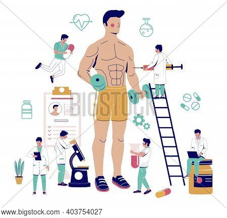 Bodybuilder Using Anabolic Steroids For Competition, Flat Vector Illustration.