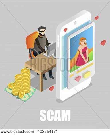 Girl Chatting With Scammer, Flat Vector Isometric Illustration. Online Dating Scam.