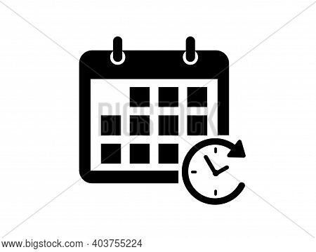 Calendar Icon. Schedule Icon Isolated On White Background. Flat Design. Vector Illustration.