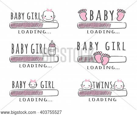 Progress Bar With Inscription - Baby Girl Loading Collection In Sketchy Style. Vector Illustration F