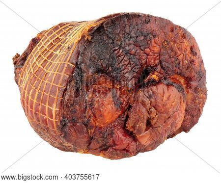 Roasted Smoked Gammon Roast Joint Isolated On A White Background