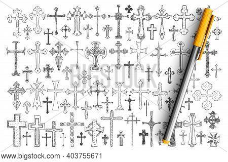 Various Religious Crosses Doodle Set. Collection Of Hand Drawn Crosses Of Different Sizes And Styles