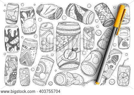 Jars With Drinks Doodle Set. Collection Of Hand Drawn Fruit Lemonade Soda And Refreshment Drinks In
