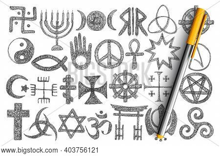 Various Religious Symbols Doodle Set. Collection Of Hand Drawn Cross, Harmony And Devil Signs, Stars