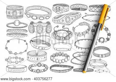 Bracelets And Baubles Doodle Set. Collection Of Hand Drawn Stylish Bracelets With Stones, Metals, Je