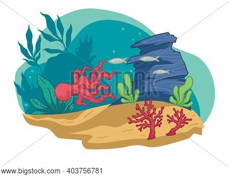 Underwater Wildlife And Marine Scene With Animals