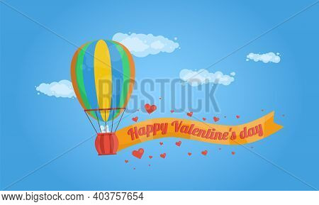 Valentines Day Hot Air Balloon Illustration, Hot Air Balloon Flight In The Sky With Hearts Floating