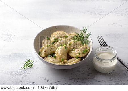 Homemade Vegan Dumplings, Vareniki, Pierogi, Kreplach Stuffed With Vegan Lentil