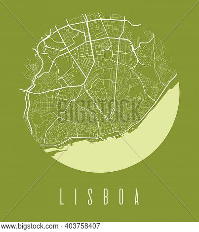 Lisbon Map Poster. Decorative Design Street Map Of Lisbon City. Cityscape Aria Panorama Silhouette A