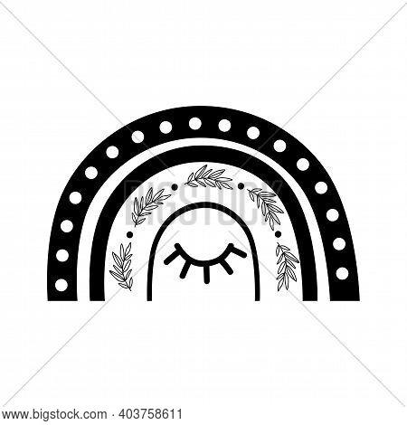 Black Boho Rainbow Shape. Celestial Rainbow Logo. Baby Rainbow Element Isolated With Sleep Eye. Bohe